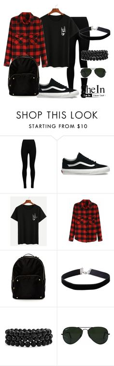 """""""SHEIN - Black Love Gesture T-shirt"""" by anisimova-i ❤ liked on Polyvore featuring Wolford, Vans, Steven by Steve Madden, Miss Selfridge, Bling Jewelry and Ray-Ban"""
