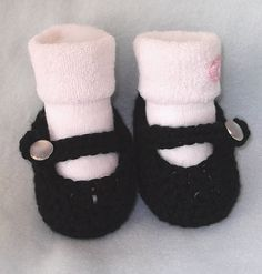 Crocheted BLACK Mary Jane Shoes for Newborn up to 3 by rosytouch, $8.65