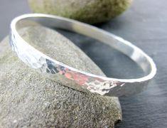Heavy Sterling Silver Bangle Bracelet Hammered Silver Bracelet Simple Bracelet 6mm Wide Stacking Bracelet Everyday Minimalist Jewelry (90.00 USD) by GlassRiverJewelry