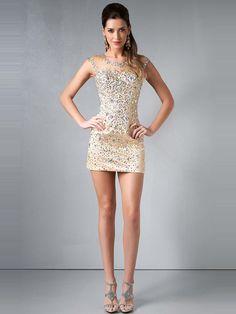 2014 Style Sheath/Column Scoop Rhinestone Homecoming Dresses/Cocktail Dresses #GM488
