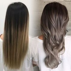 albums of balayage on ash brown hair Hair Color And Cut, Brown Hair Colors, Grey Ash Brown Hair, Brown To Grey Ombre, Brown And Silver Hair, Dark Ombre, Dark Ash, Hair Colours, Ombre Hair Long Bob