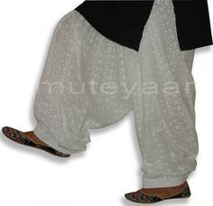 100% pure cotton dyeable WHITE CHIKAN Patiala Salwar - Click Image to Close