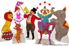 Circus Paper Dolls: Use our printable circus animals, clowns, and circus performers to make easy standing circus paper dolls. http://www.firstpalette.com/Craft_themes/People/circuspaperdolls/circuspaperdolls.html#