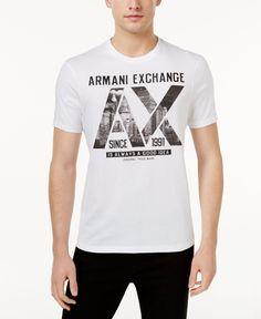 Armani Exchange Men's Graphic-Print T-Shirt - White S Polo Shirt Outfits, Boy Outfits, Camiseta Armani Exchange, Fridah Kahlo, Printed Shirts, Tee Shirts, Tee Shirt Designs, Calvin Klein Men, Adidas