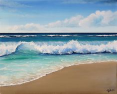 Discover recipes, home ideas, style inspiration and other ideas to try. Beach Scene Painting, Beach Artwork, Ocean Art, Ocean Waves, White Clouds, Italian Art, Seascape Paintings, Beach Scenes, Original Art