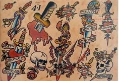 Sailor Jerry Tattoos Girly Amp Old School Tattoo Design Traditional Tattoo Design, Traditional Ink, Traditional Tattoo Flash, American Traditional, Traditional Styles, Free Tattoo Designs, Old School Tattoo Designs, Brainstorm, Tattoos For Guys