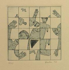 """""""Eva Más III"""", 1991. Aguafuerte y aguatinta sobre Zinc (1) de 10x10 cm., Papel Michel      de 240 gr. de medidas 38x27,5 cm. Ej.: 45"""