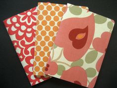 Polkadots and flowers fabric covered journals.