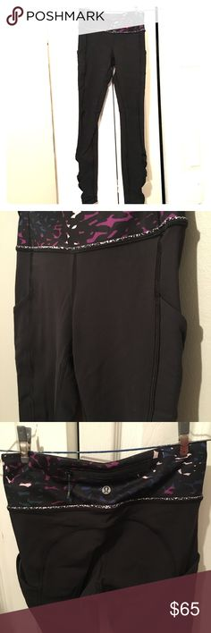 Lululemon speed tights 2 EUC. Like new condition, worn once. Back pocket with zipper  Pockets on each side Ruched on the bottom   Selling cos It's a little tight on me. lululemon athletica Pants Leggings