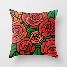 Red Roses Throw Pillow by claudineintner Bright Colors, Red Roses, Art Decor, Colorful, Throw Pillows, Painting, Toss Pillows, Bold Colors, Painting Art