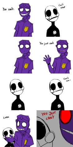 POPSUGAR If u had not read the one were purple guy listens to it's been so you will not get this (nixy walks into the room purple guy has never seen her) purple guys. Five Nights At Freddy's, Freddy S, Fnaf Comics, Vincent Fnaf, Rebornica Fnaf, Fnaf Night Guards, Fnaf Wallpapers, Fnaf Sl, Fnaf Characters