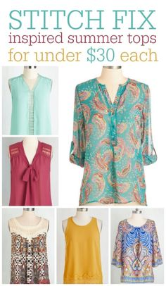 Do you love Stitch Fix but does your budget need a break? Here are 12 tops from ModCloth that you might find in a Stitch Fix box -- all priced at under $30! There are several plus-sized options!