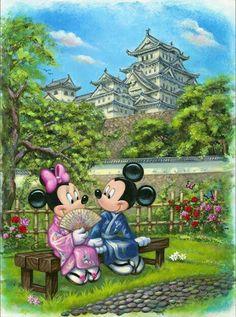 Mickey e Minnie no jardim japonês