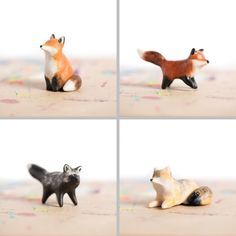 "Le Tricksy Red Fox totems - polymer clay, about 1.5"" tall, handmade by Laura Johnston"