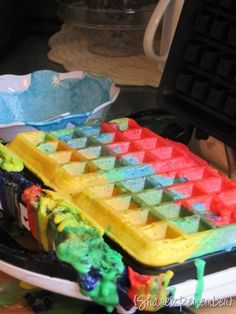 Rainbow Waffles - fun for kids to eat(: