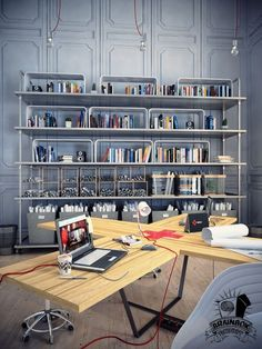 A Mind Blowing And Inspiring Home Office As Well As Workspace Design For You : Steel Bookshelf Wood Desk White Lamp Table Wood Floor And Grey Wall Industrial Interior Design, Industrial Interiors, Industrial Style, Industrial Shelving, Design Café, Design Studio, House Design, Steel Bookshelf, Library Bookshelves