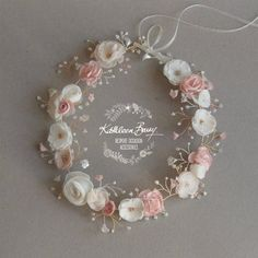 Bridal Crown Wreath - Colors to Order - Rose Gold Blush Pink and Ivory Style: Nicci - A customizable floral crown / wreath – hair vine with delicate handmade flowers and detailing ech - Blush Rosa, Blush Pink, Pastel Pink, Dusty Pink, Wedding Headband, Bridal Crown, Wedding Hair, Rose Gold Hair, Rose Gold Jewelry