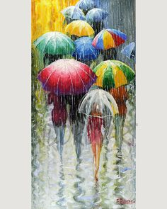 Umbrellas - oil painting