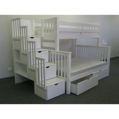 Bedz King Stairway Bunk Beds Twin over Full with 4 Drawers in the Steps and 2 Under Bed Drawers, White Bunk Beds With Drawers, Under Bed Drawers, Bunk Beds With Storage, Bunk Bed With Trundle, Bunk Beds With Stairs, Full Bunk Beds, Kids Bunk Beds, Bed Storage, Bed Stairs
