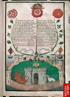 """Illuminated Manuscript page featuring an """"allegorical miniature of a bush of the Tudor rose"""" and """"incorporating a Latin poem celebrating the House of Tudor..."""" 