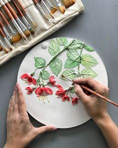 Painted round botanical bas-relief for kitchen wall decor by DinaArtDecor. Amazing flowers decorative plate from clay for farmehouse wall decoration. Wall panel with red and green colors for rustic hallway and living room decor Sculpture Painting, Wall Sculptures, Living Room Clocks, Plaster Art, Gifts For Nature Lovers, Driftwood Art, Wall Art Decor, Room Decor, Clay Crafts