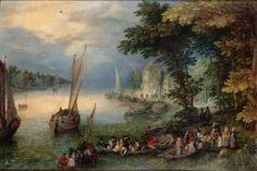 BRUEGHEL DE VELOURS (Jan I BRUEGHEL, dit) Scène fluviale ou le débarquement,1625* ~ oil on copper