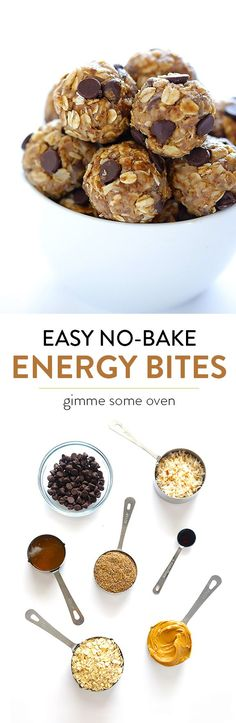 Healthy Snacks For Kids No Bake Energy Bites -- easy to make, full of protein, and perfect for breakfast, snacking, or dessert! - These delicious little no bake energy bites are the perfect healthy snack! Breakfast Recipes, Snack Recipes, Cooking Recipes, Breakfast Ideas, Breakfast Bake, Breakfast Cookies, Breakfast Healthy, Camping Breakfast, Breakfast Energy