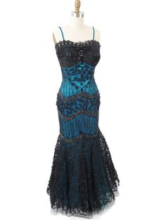 Deco Inspired Beaded Black Tulle Teal Satin Mermaid Gown- Evening Dresses