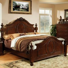 An elegant English style bed right in your bedroom with beautiful finial carvings and curves that is well dignified in warm cherry finish. The bed comes with Cal king and queen size options to meet your need.