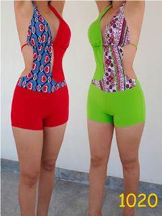 TRAJES DE BAÑO SOL DE ABRIL: MONO SHORT Retro Swimwear, Painted Clothes, One Piece Bikini, Swimsuits, Bikinis, Swimwear Fashion, Sewing Clothes, Clothing Patterns, African Fashion