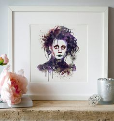 Johnny Depp as Edward Scissorhands watercolor by Artsyndrome