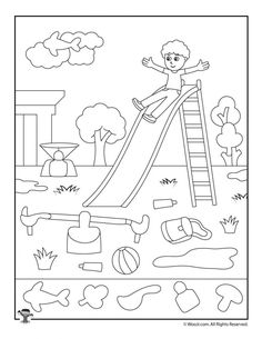 Drawings to color with children. 10 sheets to make them fall in love - Decor Scan : The new way of thinking about your home and interior design Hidden Picture Games, Hidden Pictures Printables, Picture Composition, Preschool Colors, Hidden Objects, Kindergarten Worksheets, Kids Education, Education English, Playground