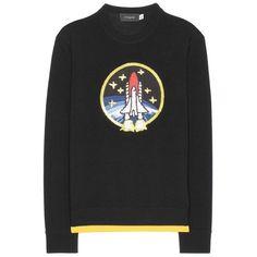 Coach Rocket Shuttle Embellished Wool Sweater (2,530 SAR) ❤ liked on Polyvore featuring tops, sweaters, black, knitwear, wool top, woolen tops, knitwear sweater, wool sweaters and woolen sweater