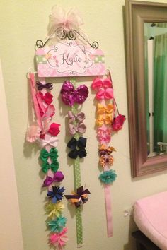 PELO del arco titular personalizado rosa por HairBowHolders