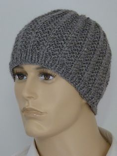 Beanie for men (FREE PATTERN) hat for men free pattern guys Beanie in J&S Chunky Wool pattern by Elizabeth Lovick Mens Hat Knitting Pattern, Beanie Pattern, Loom Knitting, Knitting Patterns Free, Free Pattern, Hat Patterns, Crochet Men, Crochet Hats, Mens Crochet Beanie