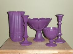 Upcycled Purple Glass Home Decor Glassware Set by Erindee on Etsy, $40.00