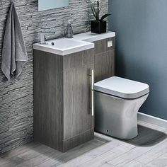 Harbour Icon Compact Furniture Suite inc Vanity Unit & Basin and Toilet Unit. Available in left or right hand, Modern polymarble basin for mono basin mixer, Striking avola grey finish, Soft closing door, 10 year guarantee. Small Toilet Room, Small Downstairs Toilet, Bathroom Toilets, Small Bathroom, Bathroom Sink Units, Toilet And Sink Unit, Bathroom Design Small, Toilet Design, Toilet Sink