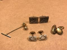 Vintage Swank, Mother of Pearl, Asian Scene, Fly Fish Cufflinks and Tie Tack!