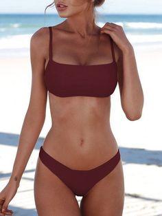 Burgundy Spaghetti Padded Design Bikini Set Swimwears Source by outfits Bikini Sets, Bikini Modells, Sexy Bikini, Pink Bikini Set, Strap Bikini, Bikini Ready, Cute Bathing Suits, Cute Swimsuits, Cute Bikinis