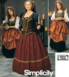 Plus Size Renaissance Costume Patterns | Simplicity 8249 Plus Size Medieval/Renaissance Dress Costume PATTERN
