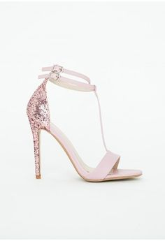 Missguided - Pamela Pink Glitter Heel Sandals