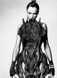 Wearable Art - cathedral dress with intricate structure and meticulous symmetry - sculptural fashion; 3D-printed design // Iris van Herpen