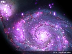 """Spectacular 'Whirlpool Galaxy' Swirls into Space Telescope's View          Hundreds of shimmering X-ray sources captured by a NASA telescope illuminate a distant spiral galaxy similar to Earth's own Milky Way. NASA's Chandra X-ray Observatory captured this image of Messier 51, nicknamed the """"Whirlpool Galaxy"""" for its swirling arms of stars and dust. It's about 30 million light-years from Earth..."""