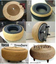 Trash to Trea ure Tire Ottoman Ottomon Instruction Pin Diy Furniture Decor, Diy Furniture Table, Diy Outdoor Furniture, Ottoman Furniture, Furniture Projects, Wood Projects, Woodworking Projects, Outdoor Decor, Diy Home Crafts