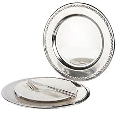 Set of 6 Stainless Steel Charger Plates With Swirl 30.5cm. High Polished Thick and Heavy Quality