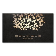 Gold Foil and Faux Black Linen Look Boutique Business Card Templates