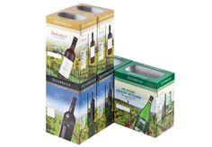 #Offsetkaschierte #Weinkartons • #Verkaufsverpackung für 6 Flaschen Rot- oder Weißwein. • 4-färbig #Offsetbedruckt. • #T4P, #Getränkeverpackungen Recycling, Packaging Design, Flasks, Products, Red, Repurpose, Upcycle