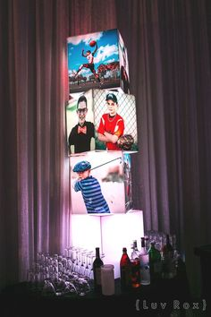These photo cubes are great for a display or centerpiece at a Bar/Bat Mitzvah or Sweet Bat Mitzvah Decorations, Bat Mitzvah Centerpieces, Bar Mitzvah Themes, Bar Mitzvah Party, Table Decorations, Bar Mitsva, 70th Birthday Parties, Birthday Celebration, Birthday Ideas