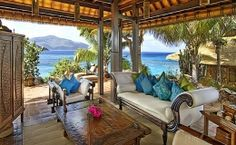 Tropical hideaway, armoire, beautiful, blue, couch, furniture, mountain, ocean view, palms, pillows, sofa, straw, table, trees, tropical, white