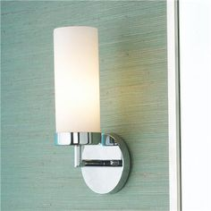 "Cylinder Glass Bath Sconce  Modern simplicity and favorite finishes along with energy-saving bulb make this wall light a smart solution for hallways, bathrooms and dining areas.  (12""Hx4 3/4""Wx5 1/2""D)  (GU24 socket)    Product SKU: BS12049 PN  Price:  $79.00"